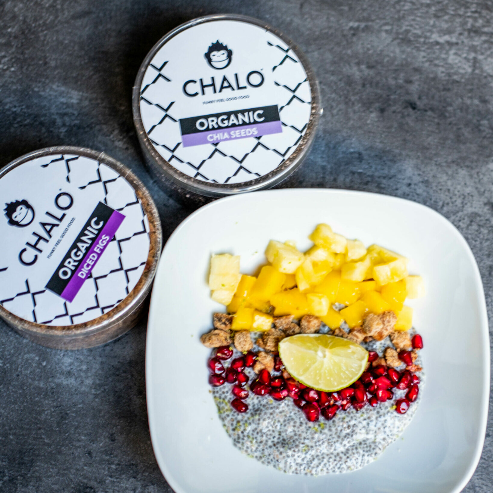 Chalo Chia Pudding with diced figs, fresh mango & pineapple